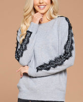 Brittany Soft Grey Sweater with Lace Sleeve Detail