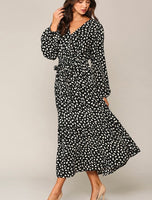 Rory Black Dot Maxi Dress with Side Tie
