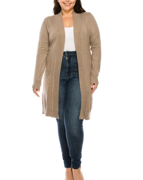 Delaney Camel Open Front Tunic Cardigan