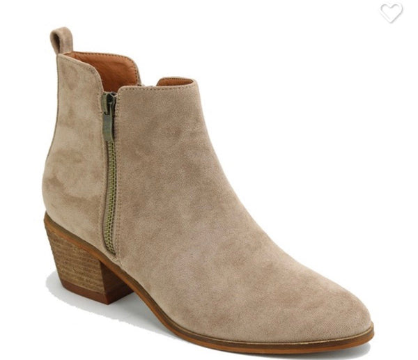 Rachel Taupe Zip Ankle Boot