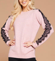 Brittany Soft Pink Sweater with Lace Sleeve Detail