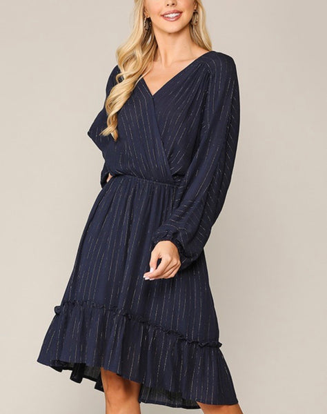 Ivy Navy Faux Wrap Midi Dress with Gold Accent Stripe