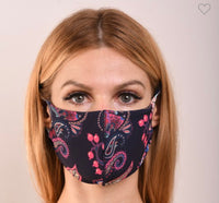 Navy Paisley Double Layer Mask