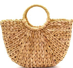 Tan Woven Straw Bohemian Basket Bag