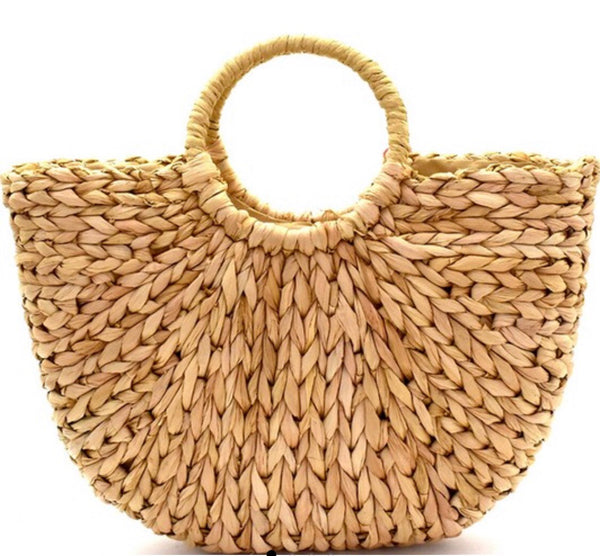 Tan Woven Straw Bohemian Basket Bag - Ashley Claire Boutique