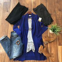 Charcoal Open Front Tunic Cardigan - Ashley Claire Boutique