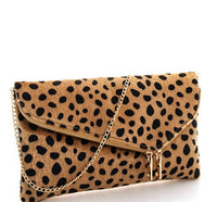 Lydia Leopard Bag with Zippers and Chain Strap - Ashley Claire Boutique