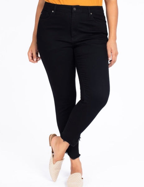 Kan Can Alexandra Black Raw Hem Ankle Skinny Jean