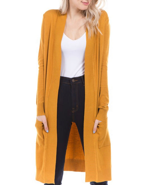 Mustard Open Front Tunic Cardigan