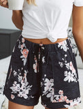 Sierra Midnight Floral Casual Shorts with Drawstring
