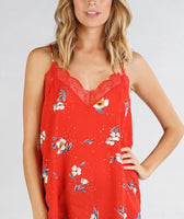 Danielle Red Floral Cami with Lace Neckline