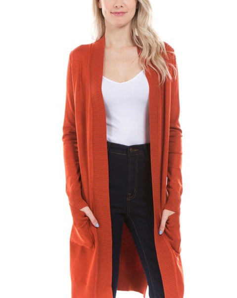 Delaney Rust Open Front Tunic Cardigan