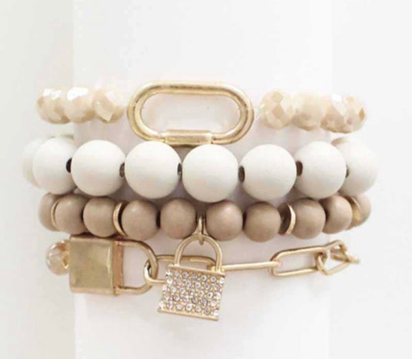 Trendy Neutral Bracelet Set with Lock Charm