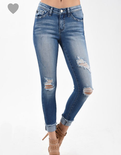 Authentic Faded Distressed Ankle Jeans with Raw Hem - Ashley Claire Boutique