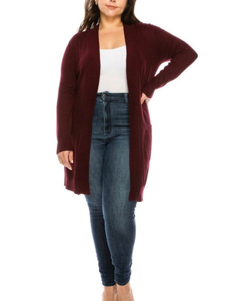 Delaney Burgundy Open Front Tunic Cardigan