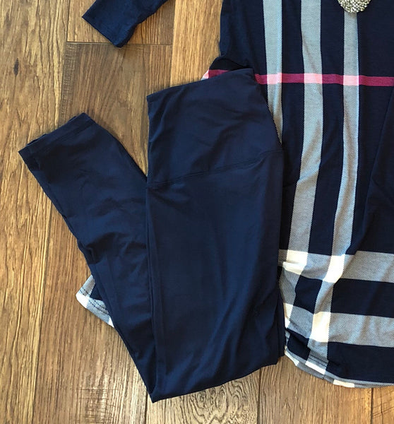 ONE SIZE Navy Soft Yoga Leggings - Ashley Claire Boutique
