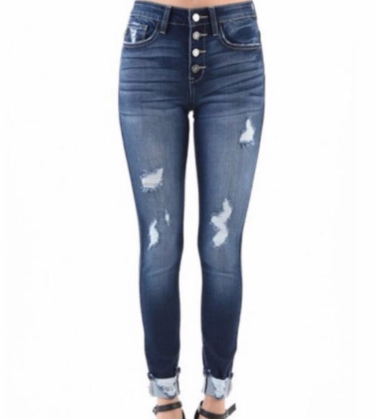 Authentic Distressed Jeans with Button Fly and Distressed Ankle - Ashley Claire Boutique