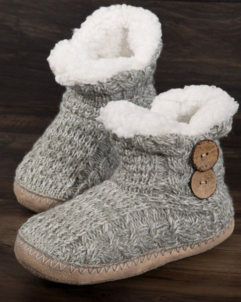 Knit Slipper Boots with Button Detail