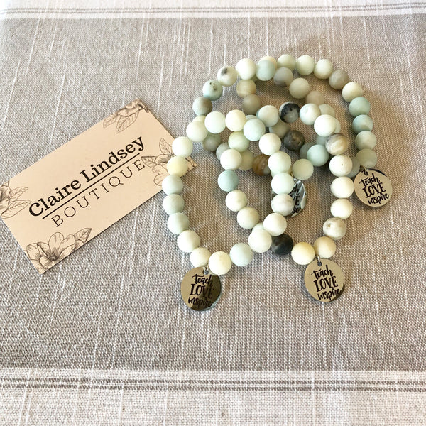 Hollie Cooling Bead Bracelet with Teach Love Inspire Charm - Ashley Claire Boutique