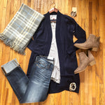 Navy Open Front Tunic Cardigan - Ashley Claire Boutique