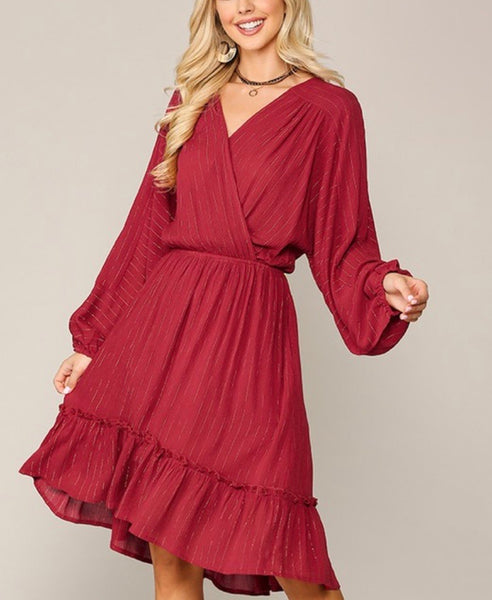 Ivy Red Faux Wrap Midi Dress with Gold Accent Stripe