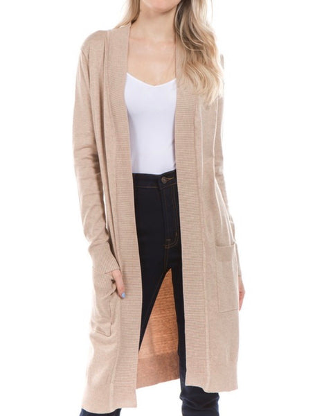 Khaki Open Front Tunic Cardigan - Ashley Claire Boutique