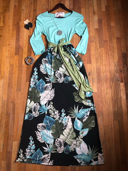 Mint and Black Leaf Sash Maxi Dress - Ashley Claire Boutique