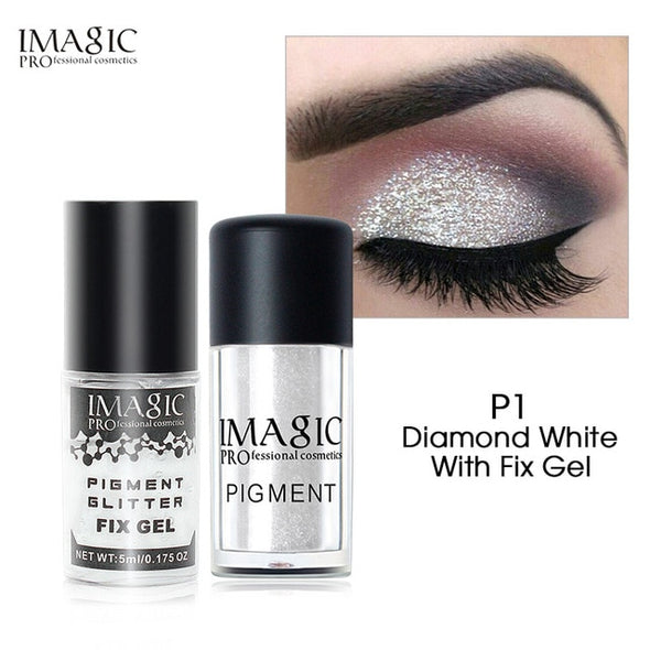 Glitter Waterproof Shimmer Colors Eye Shadow & Fix Gel Set