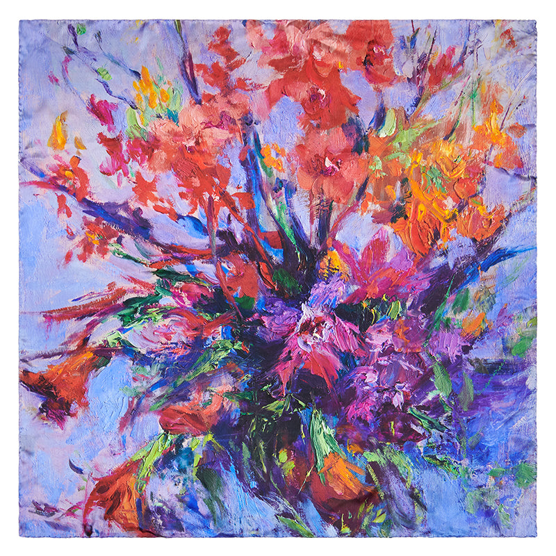 Square image showing entire design of multi-colored Lavender Dream Italian-made 100% silk scarf from Oksana Fine Art and Design, with bouquet of orchids on a purple and blue background.