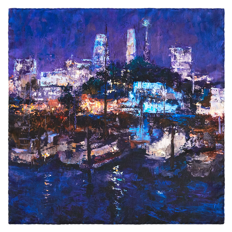 Square image showing full design of the Lights of the City 100% silk scarf from Oksana Fine Art and Design, with San Francisco harbor scene against the lights of the city's downtown buildings.