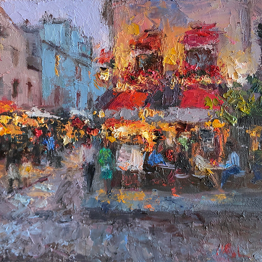 Detail from colorful impressionist oil painting of evening cafe scene in Paris, France, lit by streetlights.