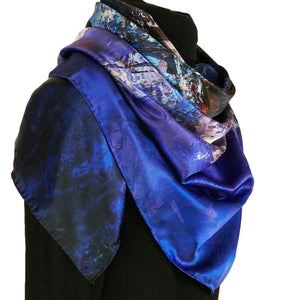Lights of the City, 110x110 cm Luxury Italian Silk Scarf