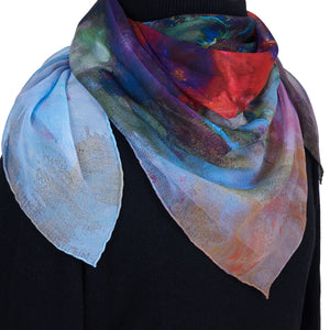 Spring is Coming, 90x90 cm Luxury Italian Scarf, Semi-Transparent Silk Georgette