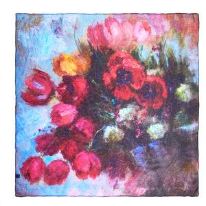 Oksana_SpringIsComing_ItalianSilkScarf_Red_90x90cm_OksanaFineArtDesign_GeorgetteSilk_Square