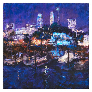 Lights of the City, 65x65 cm Luxury Italian Silk Scarf
