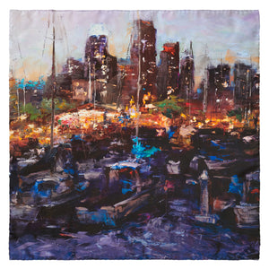 South Beach Harbor, 65x65 cm Luxury Italian Silk Scarf