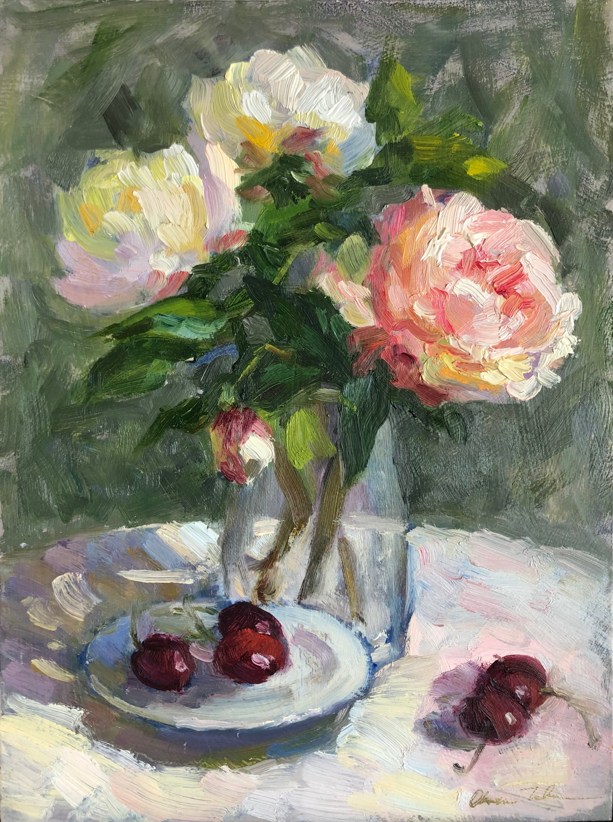 Still life painting of peonies and cherries