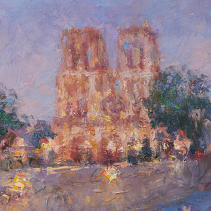 Oksana-Johnson-original-oil-painting-Twilight-in-Paris-9x12-inches-Notre-Dame-Cathedral-evening-detail
