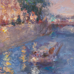 Oksana-Johnson-original-oil-painting-Twilight-in-Paris-9x12-inches-Notre-Dame-Seine-River-boat-detail