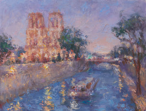 Oksana-Johnson-original-oil-painting-Twilight-in-Paris-9x12-inches-Notre-Dame-Seine-River-boat