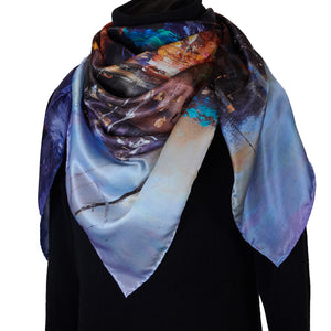 South Beach Harbor, 110x110 cm Luxury Italian Silk Scarf