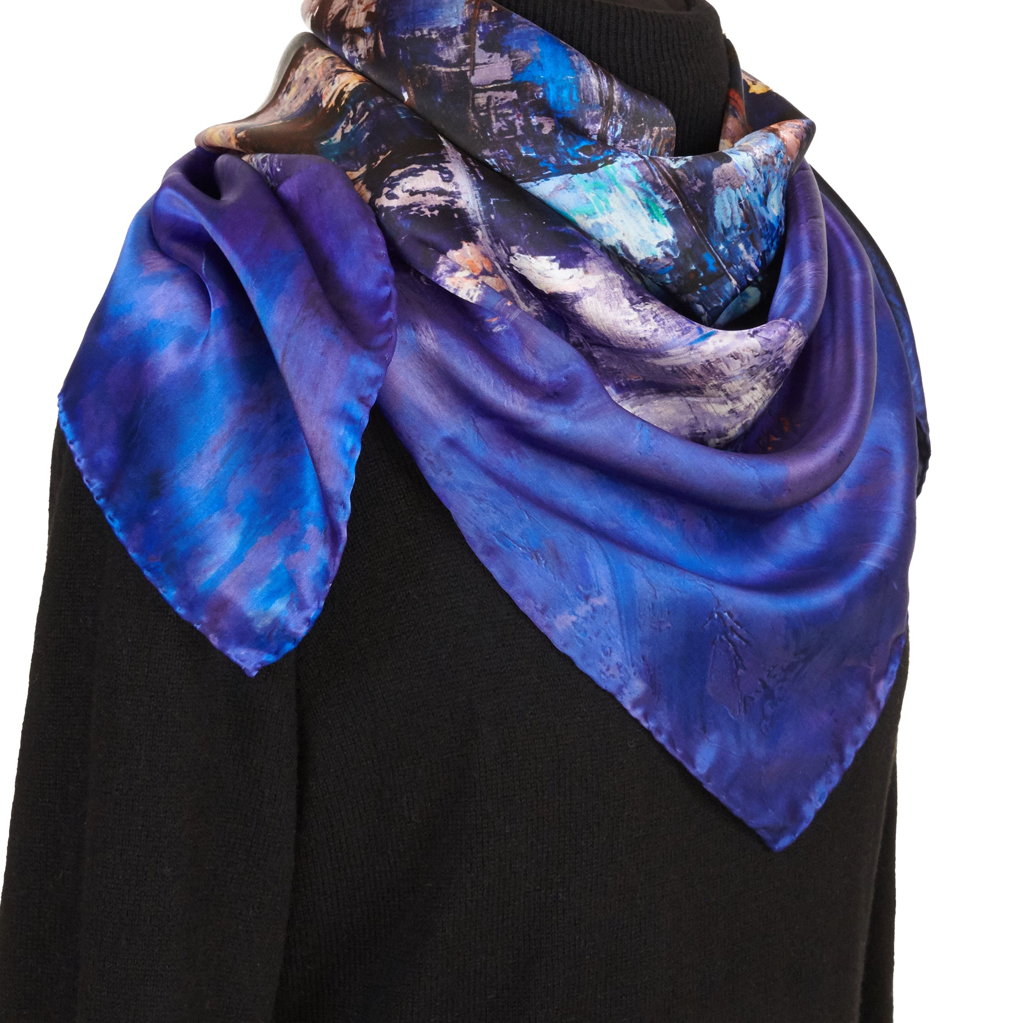 Lights of the City, 90x90 cm Luxury Italian Silk Scarf
