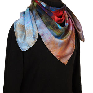 Spring is Coming, 90x90 cm Luxury Italian Silk Scarf