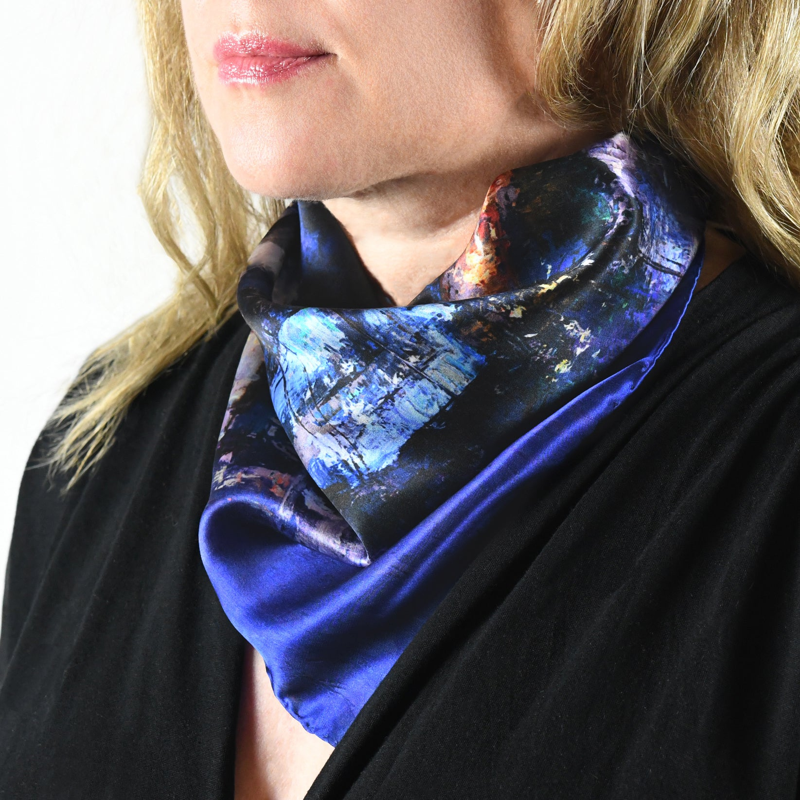 Lights of the City, 42x42 cm Luxury Italian Silk Scarf