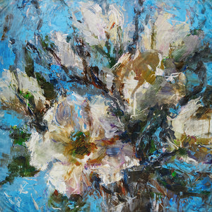Oksana_WhiteMagnolias_ItalianSilkScarf_LightBlue_OksanaFineArtDesign_Square