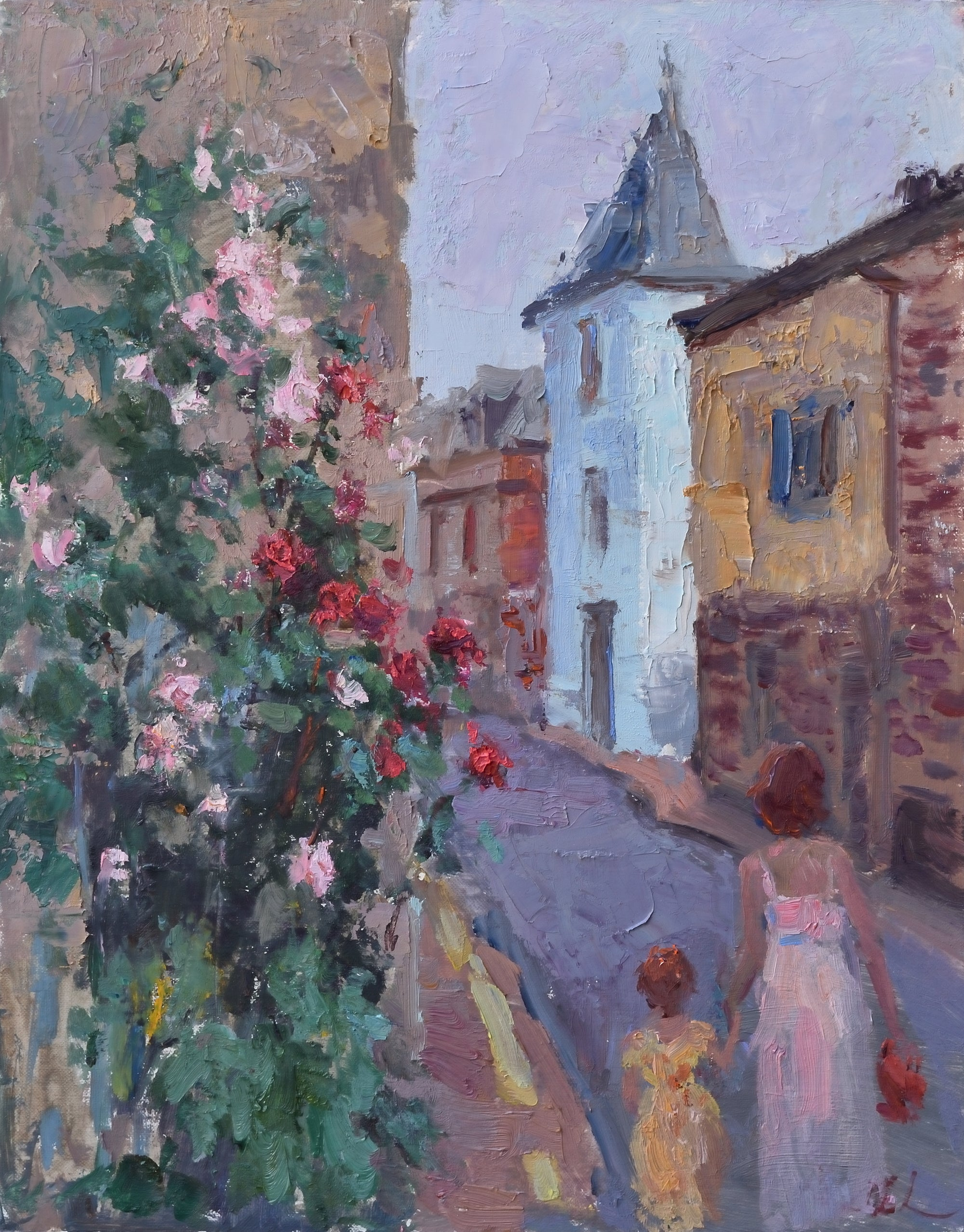 Oksana-Johnson-oil-painting-14x11-inches-Normandy-France-woman-child-walking-old-town-flowers