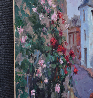 Oksana-Johnson-oil-painting-14x11-inches-Normandy-France-old-town-flowers-edge-detail