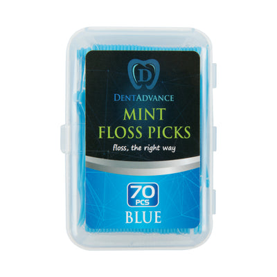 DentAdvance  Dental Floss Picks - Easy Reach Back Teeth | Tooth Flossers | 70 ct, w/ Travel Case - Blue
