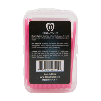 DentAdvance  Dental Floss Picks - Easy Reach Back Teeth | Tooth Flossers | 70 ct, w/ Travel Case - Pink