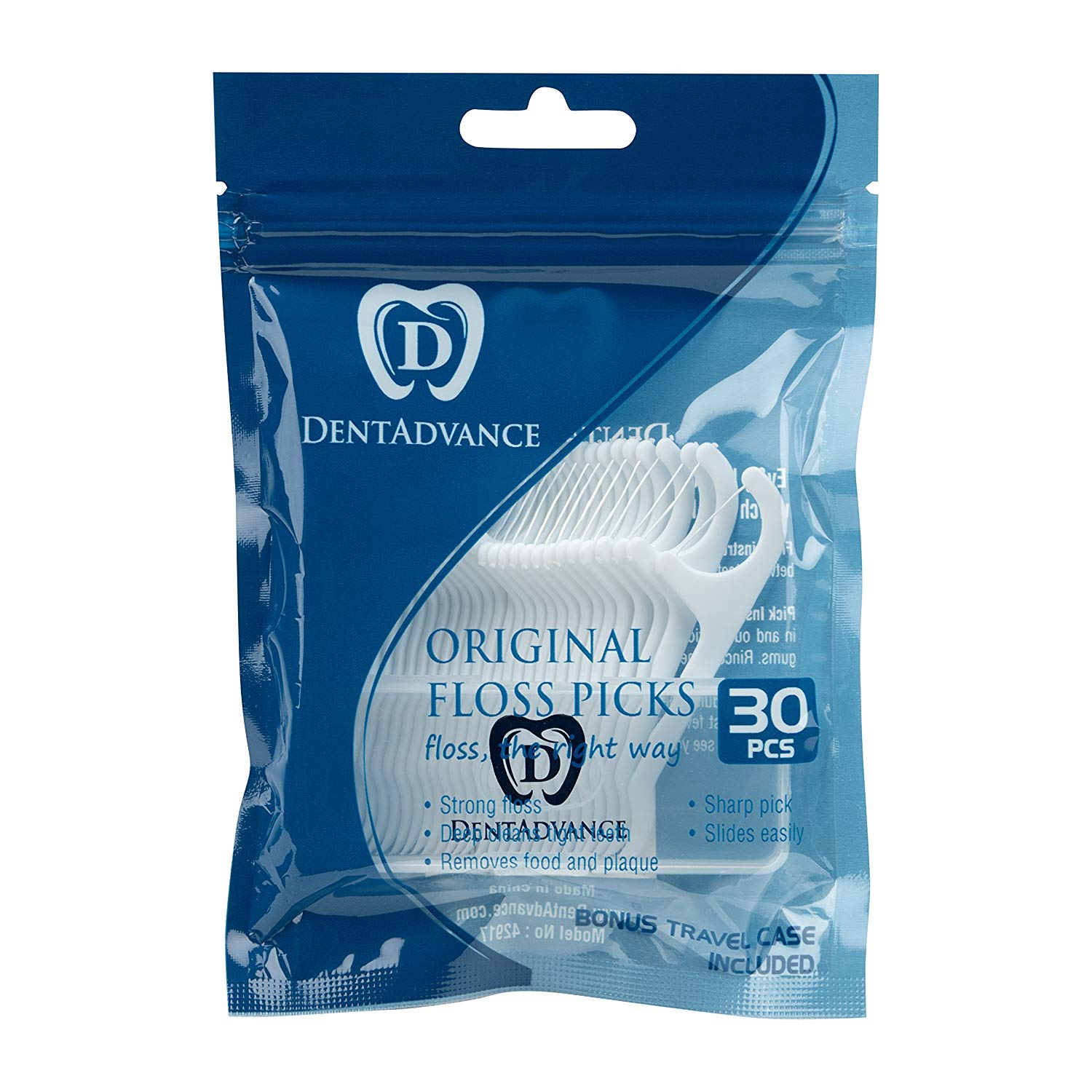 Floss Picks by DentAdvance: Interdental & Gum Cleaning Floss Picks For Plaque Removal & Oral Hygiene, Easy Reach & Deep Cleansing